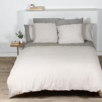 COTE DECO Housse de couette 100% coton lave 220x240 cm - Blanc ficelle et gris elephant