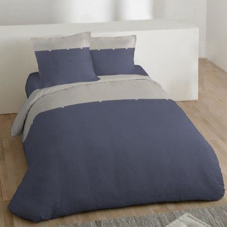 COTE DECO Housse de couette 100% coton lave 220x240 cm - Bleu navy et gris elephant