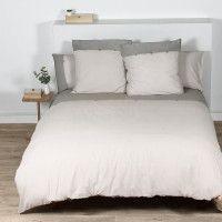 COTE DECO Housse de couette 100% coton lave 240x260 cm - Blanc ficelle et gris elephant