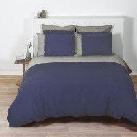 COTE DECO Housse de couette 100% coton lave 240x260 cm - Bleu navy et gris elephant