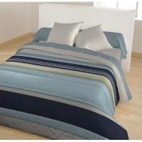 Couette fantaisie imprimee - 100% polyester - 220 x 240 cm - Dessin Alba - Bleu indigo