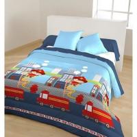 Couette fantaisie imprimee - 100% polyester - 140 x 200 cm - Dessin Sapeur - Multicolore