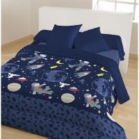 Couette fantaisie imprimee - 100% polyester - 140 x 200 cm - Dessin Yury - Bleu marine