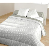 BLEU CALIN Couette chaude imprimee YOAN / ENIO - 100% polyester - 220 x 240 cm - Gris