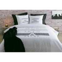 FINLANDEK Parure de couette SILENT NIGHT 100% coton - Housse de couette 220 x 240 cm + 2 taies doreiller 63 x 63 cm - Blanc et k