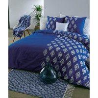 FINLANDEK Parure de couette GOLDEN BLUE 100% coton - Housse de couette 220 x 240 cm + 2 taies doreiller 63 x 63 cm - Bleu et bla