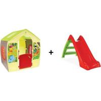 PACK : Maison pour enfant Happy + Toboggan 2 marches pour enfant - Rouge et vert