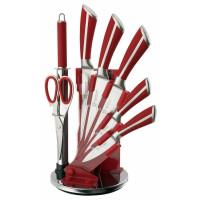Mayerhoff Mayerhoff MH-KN08C-K: Ensemble de 8 couteaux en acier inoxydable avec support en acrylique - Rouge