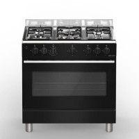 BOMPANI Boe85NR Piano de cuisson gaz - 5 foyers - Four electrique - Catalyse - Noir