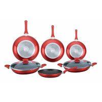 Herzberg HG-6010 Batterie de cuisine en revêtement de marbre 8 pcs Rouge