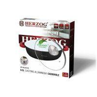 Herzog HR-CALC281CR Aluminium Cocotte en céramique28 cm, 3.8L Rouge