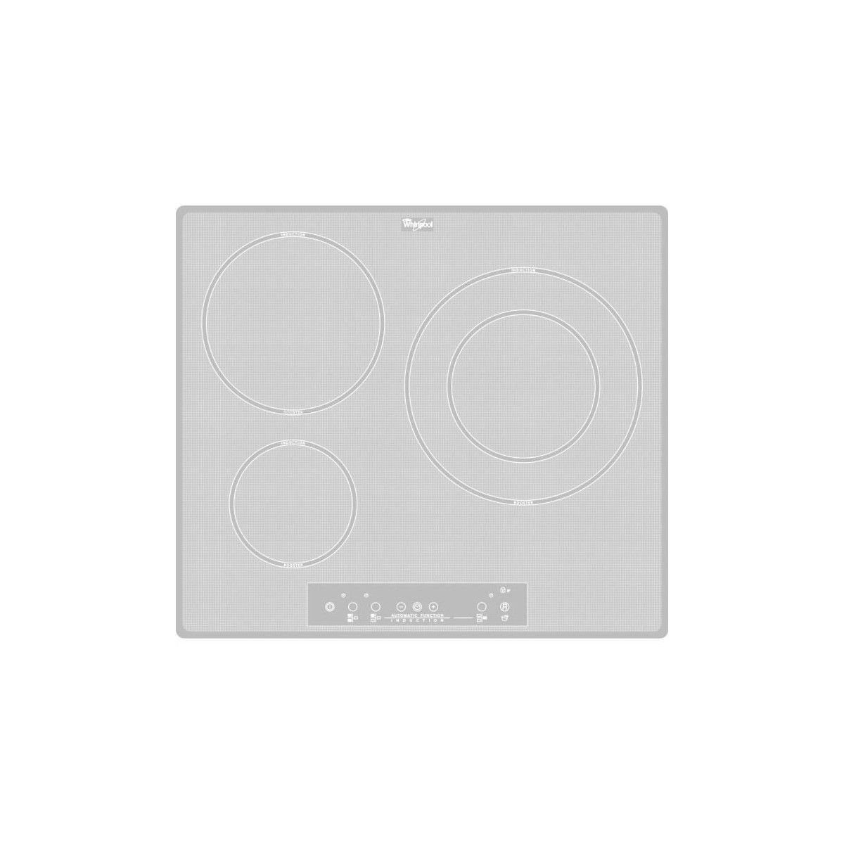 Table De Cuisson Vitrocéramique Pas Cher whirlpool acm680newh - table de cuisson induction - 3 zones - 7000w - l58 x  p49cm - revetement verre - blanc