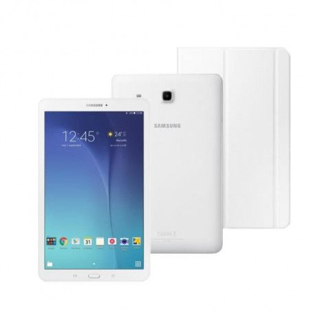 SAMSUNG Pack Galaxy Tab E - 9,6 WXGA - 1,5Go RAM - Android 4.4 - Quad Core - Stockage 8Go - Blanc + Book cover TAB E offert