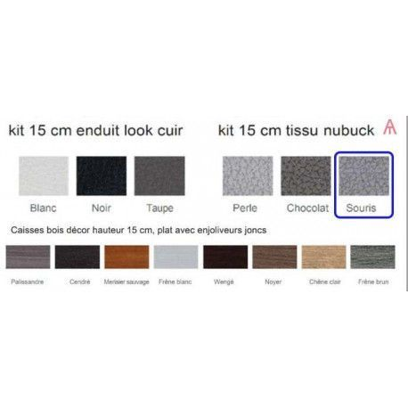 Cache Sommier Meral Kit M 160x200 Nubuck Souris