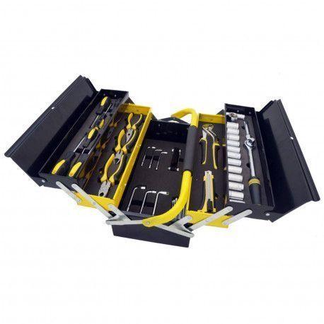 Mannsberger Manssberger 808.605: Ensemble d'outils de 58 pièces avec boîte à outils à cinq compartiments en porte-à-faux
