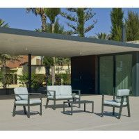 Ensemble Salon Sofa De Jardin AWENA 7 en ALUMINIUM ANTHRACITE