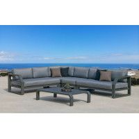 Ensemble Salon Sofa De Jardin ANTINEA CC8 en ALUMINIUM ANTHRACITE Coussins couleur JOANA