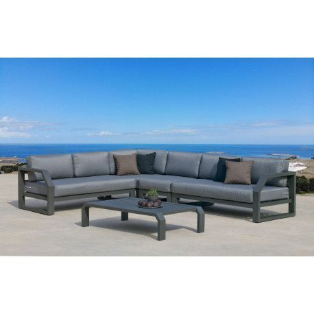 Ensemble Salon Sofa De Jardin ANTINEA CC8 en ALUMINIUM ANTHRACITE ...