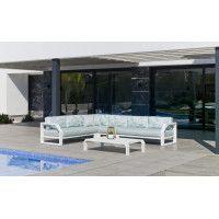 Ensemble Salon Sofa De Jardin ANTINEA CC8 en ALUMINIUM BLANC Coussins couleur MIRTA DALIA