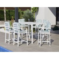Ensemble Salon A Manger ANTHEA 150-6 en ALUMINIUM BLANC Coussins couleur MIRTA DALIA