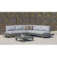 Ensemble Salon Sofa De Jardin ANASTACIA 2+2 en ALUMINIUM ANTHRACITE Coussins couleur GRIS CLAIR