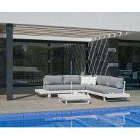 Ensemble Salon Sofa De Jardin ANASTACIA 2+2 en ALUMINIUM BLANC Coussins couleur GRIS CLAIR