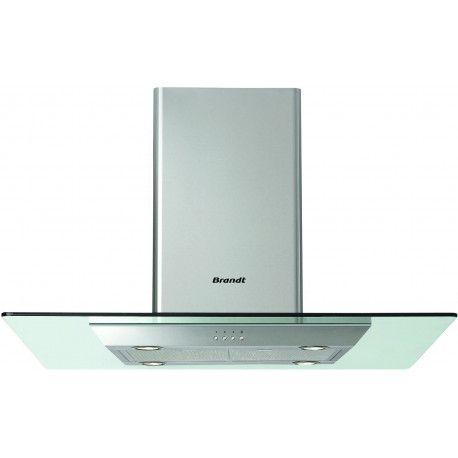 BRANDT AD1188X Hotte décorative - 75.5 dB - Evacuation ou recyclage - Inox / Verre