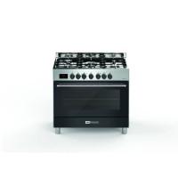 BOMPANI BTECH90NR Piano de cuisson gaz - 5 foyers - Four electrique - Catalyse - Noir