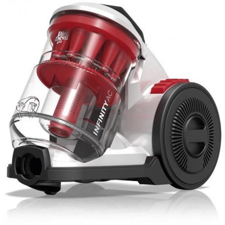 DIRT DEVIL Aspirateur sans sac multi-cyclonique DD5110-0 - Infinity AC - Rouge Silver