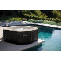 INTEX Pure Spa octogonal 4 places bulles+ jets 201x71 cm noir