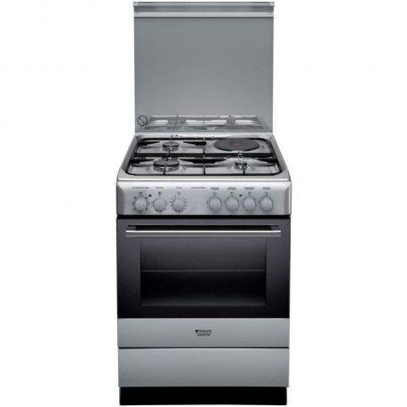 HOTPOINT H6M6C2AGX/FR - Cuisiniere table mixte gaz + induction - 4 zones de cuisson - 60 cm - Inox