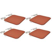 EZPELETA Set de 4 Coussins de chaises carrees Sol - 40 x 40 cm - Orange et gris