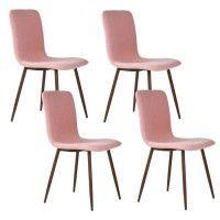 SCARGILL Lot de 4 chaises en tissu rose - Pieds decor bois - Scandinave - L 44 x P 54 cm
