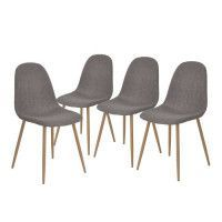 CHARLTON Lot de 4 chaises de salle a manger en metal imprime bois - Revetement tissu gris - Contemporain - L 43 x P 55 cm