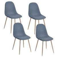 CHARLTON Lot de 4 chaises de salle a manger - Metal imprime bois revetu de tissu bleu - Scandinave - L 43 x P 55 cm