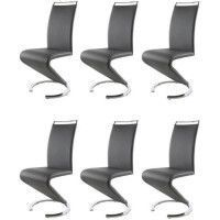 SIDNEY Lot de 6 chaises salon gris