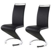 SIDNEY Lot de 2 chaises de salle a manger en metal - Simili noir - Contemporain - L 49,5 x P 61 cm
