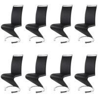 SIDNEY Lot de 8 chaises salon noir