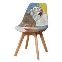 MARTINS Chaise en tissu patchwork jaune + pieds en bois naturel - Scandinave - L 51 x P 57 cm