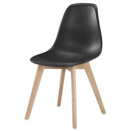 SACHA Chaise de salle a manger noir - Pieds en bois hevea massif - Scandinave - L 48 x P 55 cm