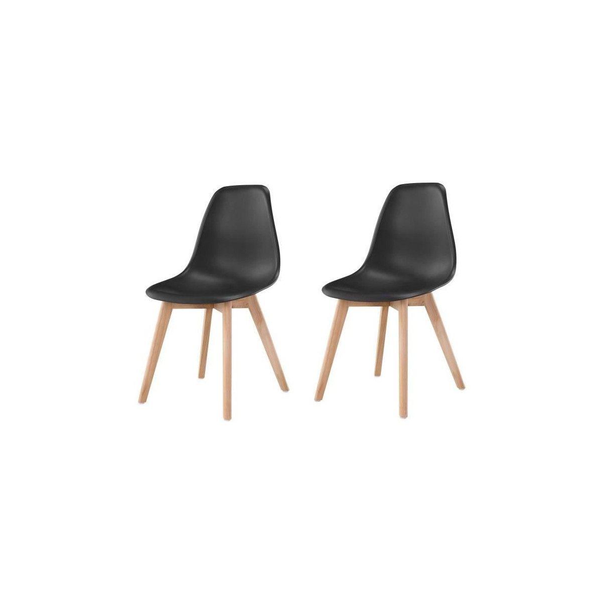 SACHA Lot de 2 chaises de salle a manger noir Pieds en