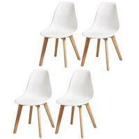 SACHA Lot de 4 chaises de salle a manger blanc - Pieds en bois hevea massif - Scandinave - L 48 x P 55 cm