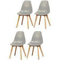 SACHA Lot de 4 chaises de salle a manger gris - Pieds en bois hevea massif - Scandinave - L 48 x P 55 cm