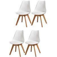 BJORN Lot de 4 chaises de salle a manger - Simili blanc - Scandinave - L 49 x P 56 cm