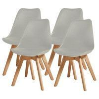 BJORN Lot de 4 chaises de salle a manger - Simili gris - Scandinave - L 49 x P 56 cm