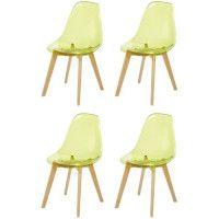 BROOKLIN Lot de 4 chaises de salle a manger vert - Pieds en bois hetre massif - Scandinave - L 46,5 x P 53 cm
