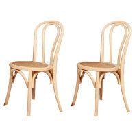 MONTMARTRE Lot de 2 chaises de salle a manger - Bois dorme naturel - Classique - L 43 x P 42 cm