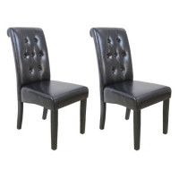CUBA Lot de 2 chaises de salle a manger - Simili marron - Style contemporain - L 45 x P 60 cm