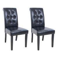 CUBA Lot de 2 chaises de salle a manger - Simili noir - Style contemporain - L 45 x P 60 cm