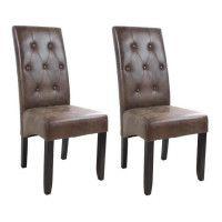 CUBA Lot de 2 chaises de salle a manger - Tissu marron - Style contemporain - L 49 x P 65 cm